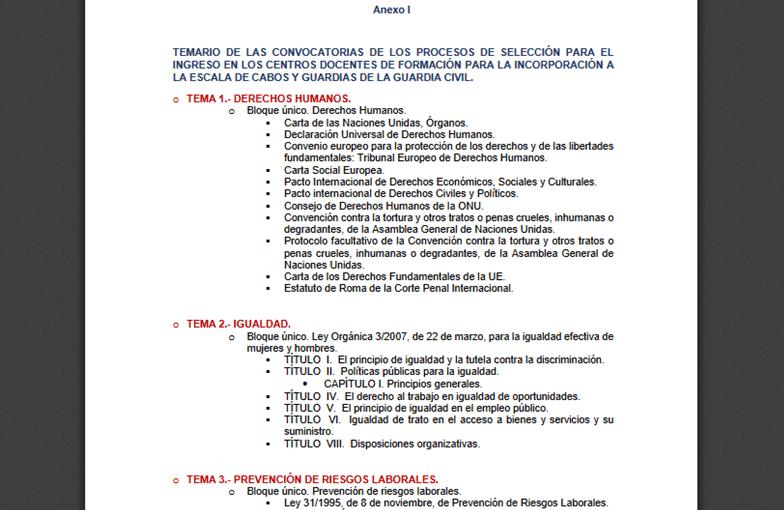 Nuevo temario de las oposiciones 2020 a Guardia Civil