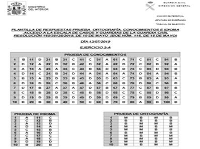 Plantillas de respuesta de los primeros exámenes de la Guardia Civil 2019