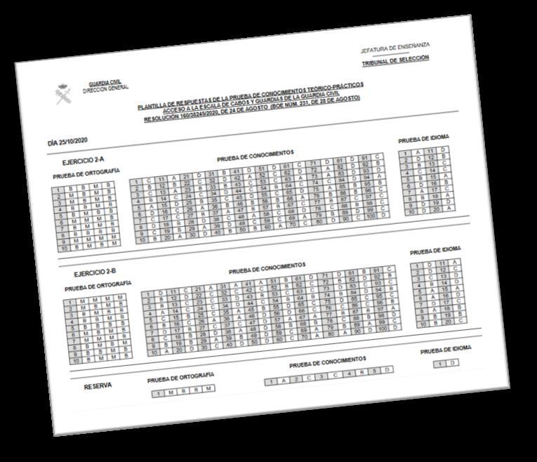 Exámenes oficiales Guardia Civil 2020